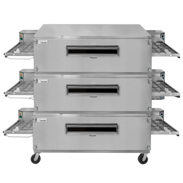 "Lincoln 3270-3 Liquid Propane Impinger Triple Conveyor Oven Package with 70"" Long Baking Chamber - 450,000 BTU"