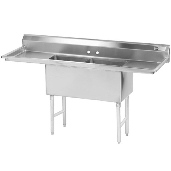 """Advance Tabco FS-2-1524-24RL Spec Line Fabricated Two Compartment Pot Sink with Two Drainboards - 78"""""""