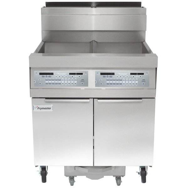 Frymaster SCFHD260G 160 lb. 2 Unit Natural Gas Floor Fryer System with Thermatron Controls and Filtration System - 250,000 BTU Main Image 1