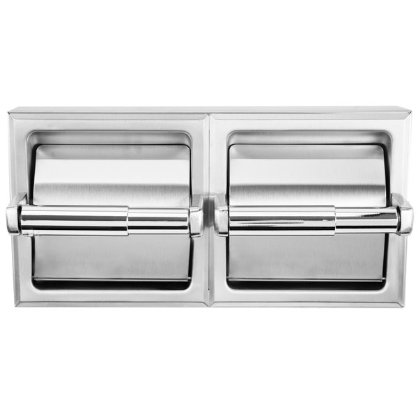 Bobrick B-69997 Surface-Mounted Double Toilet Tissue Dispenser with Stainless Steel Hood and Satin Finish