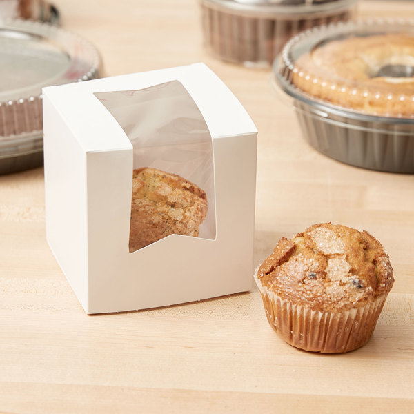 "Southern Champion 24033 4 1/2"" x 4 1/2"" x 4 1/2"" White Window Cupcake Box - 10/Pack"