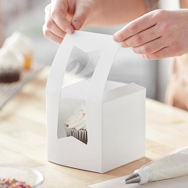 """Baker's Mark 4 1/2"""" x 4 1/2"""" x 4 1/2"""" White Window Cupcake / Bakery Box - 10/Pack Main Image 6"""