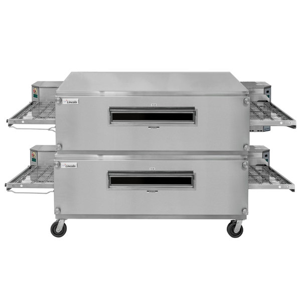 """Lincoln 3255-2 Natural Gas Impinger Double Convyeor Oven Package with 55"""" Long Baking Chamber - 290,000 BTU"""