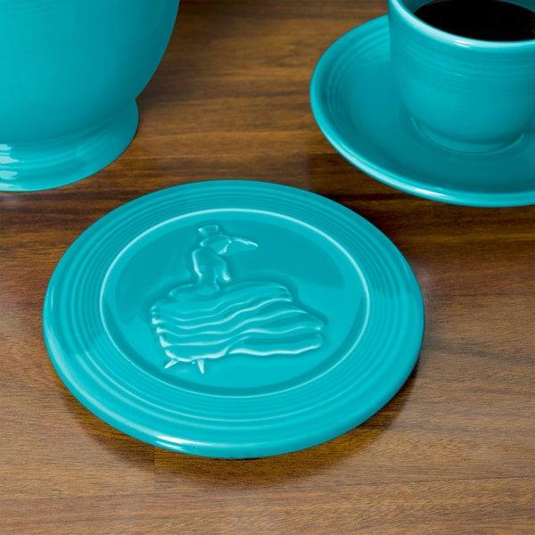 """Homer Laughlin 443107 Fiesta Turquoise 6"""" Trivet - 6/Case"""