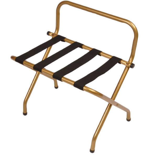 CSL 1055I-BL-1 Antique Inca Gold Metal High Back Luggage Rack with Wall Guard