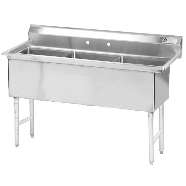 "Advance Tabco FS-3-1620 Spec Line Fabricated Three Compartment Pot Sink - 53"" Main Image 1"
