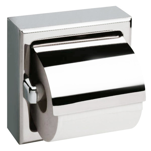 Bobrick B-66997 Surface-Mounted Toilet Tissue Dispenser with Stainless Steel Hood and Satin Finish