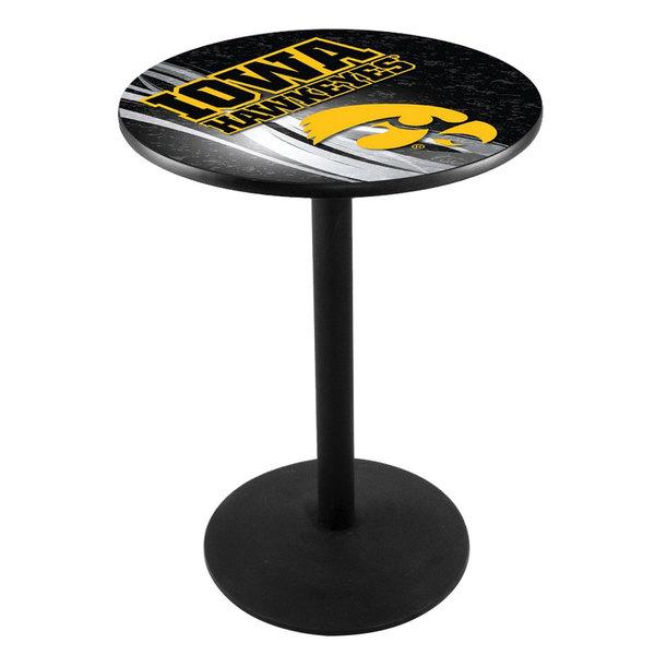 "Holland Bar Stool L214B3628IOWAUN-D2 28"" Round University of Iowa Pub Table with Round Base Main Image 1"