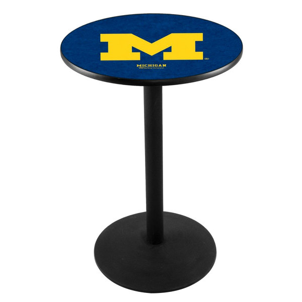 "Holland Bar Stool L214B3628MICHUN 28"" Round University of Michigan Pub Table with Round Base"