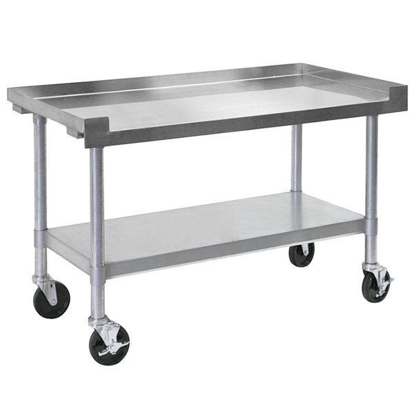 "Bakers Pride HDS-48C (234801) 48"" x 30"" Mobile Stainless Steel Equipment Stand with Undershelf Main Image 1"