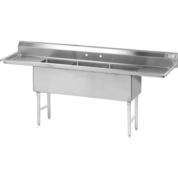 """Advance Tabco FS-3-1524-24RL Spec Line Fabricated Three Compartment Pot Sink with Two Drainboards - 93"""""""