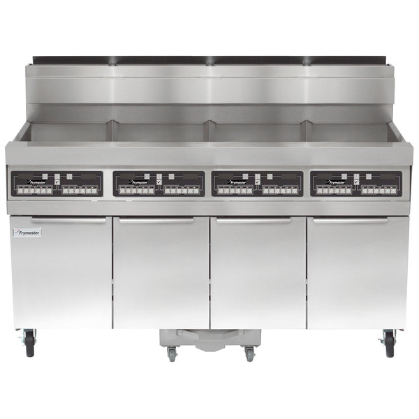 Frymaster SCFHD460G 320 lb. 4 Unit Liquid Propane Floor Fryer System with CM3.5 Controls and Filtration System - 500,000 BTU Main Image 1