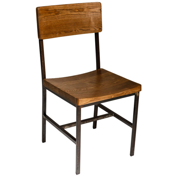 BFM Seating JS33CASH RU Memphis Distressed Rustic Clear Coated Steel Side  Chair With Autumn Ash Wooden ...