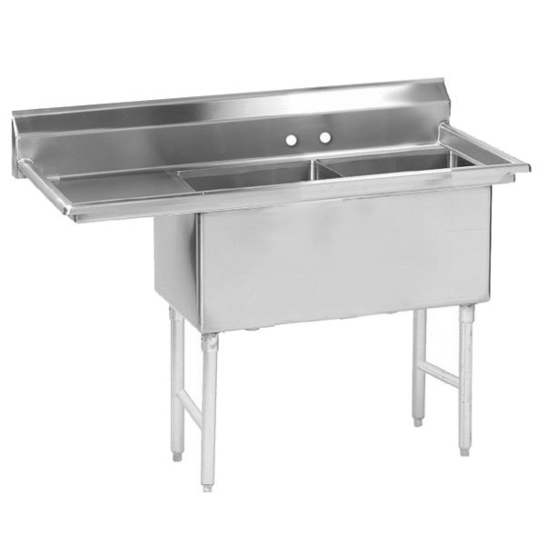 Left Drainboard Advance Tabco FS-2-1524-24 Spec Line Fabricated Two Compartment Pot Sink with One Drainboard - 56 1/2""