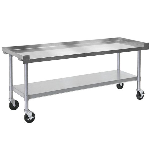 """Bakers Pride HDS-72C (237201) 72"""" x 30"""" Mobile Stainless Steel Equipment Stand with Undershelf Main Image 1"""