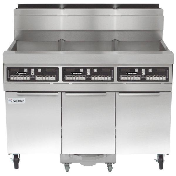 Frymaster SCFHD360G 240 lb. 3 Unit Natural Gas Floor Fryer System with CM3.5 Controls and Filtration System - 375,000 BTU Main Image 1