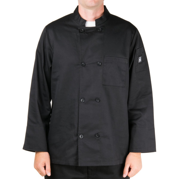 Chef Revival Bronze J071BK-S Black Size 36 (S) Customizable Double-Breasted Chef Jacket with Chest Pocket - Poly-Cotton Blend