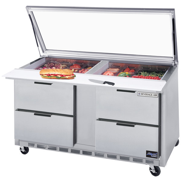 """Beverage-Air SPED60HC-24M-4-STL 60"""" 4 Drawer Mega Top Refrigerated Sandwich Prep Table with Glass Lid Main Image 1"""