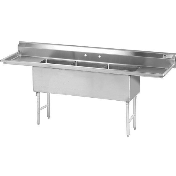 """Advance Tabco FS-3-1620-24RL Spec Line Fabricated Three Compartment Pot Sink with Two Drainboards - 96"""""""