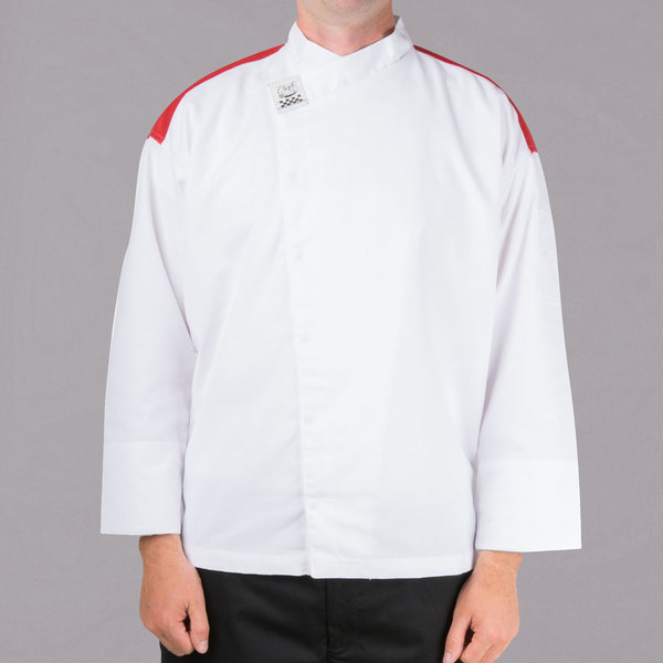 Chef Revival Gold White Size 56 (3X) Customizable Metro Long Sleeve Chef Jacket with Red Yoke
