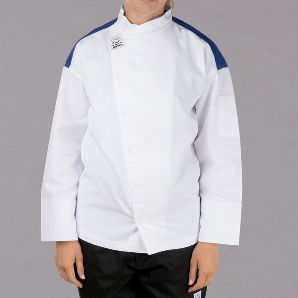 Chef Revival Gold J027BL-L White Size 46 (L) Customizable Metro Long Sleeve Chef Jacket with Blue Yoke - Poly-Cotton Blend