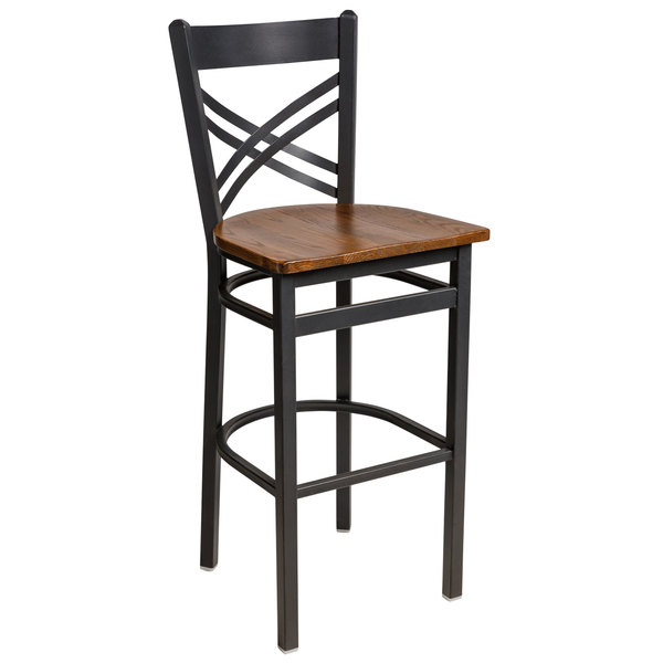 BFM Seating 2130BASH-SB Akrin Sand Black Steel Bar Height Chair with Cross Steel Back and Autumn Ash Wooden Seat