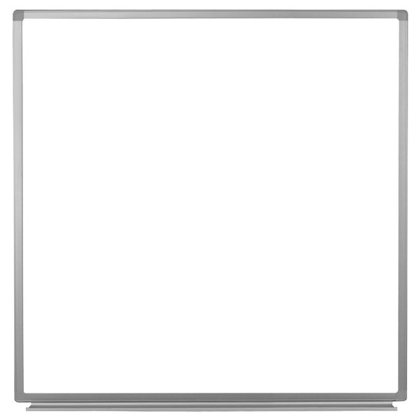 "Luxor WB4848W 48"" x 48"" Wall-Mounted Magnetic Whiteboard with Aluminum Frame"