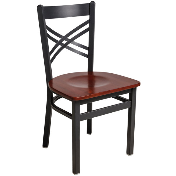 BFM Seating 2130CMHW-SB Akrin Sand Black Steel Side Chair with Cross Steel Back and Mahogany Wooden Seat