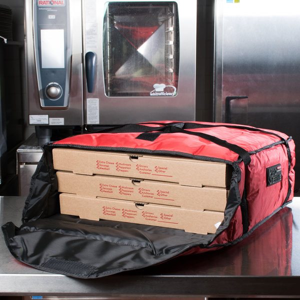 """Rubbermaid FG9F3700RED ProServe Insulated Large Pizza Delivery Bag Red Nylon 21 1/2"""" x 19 3/4"""" x 7 3/4"""""""