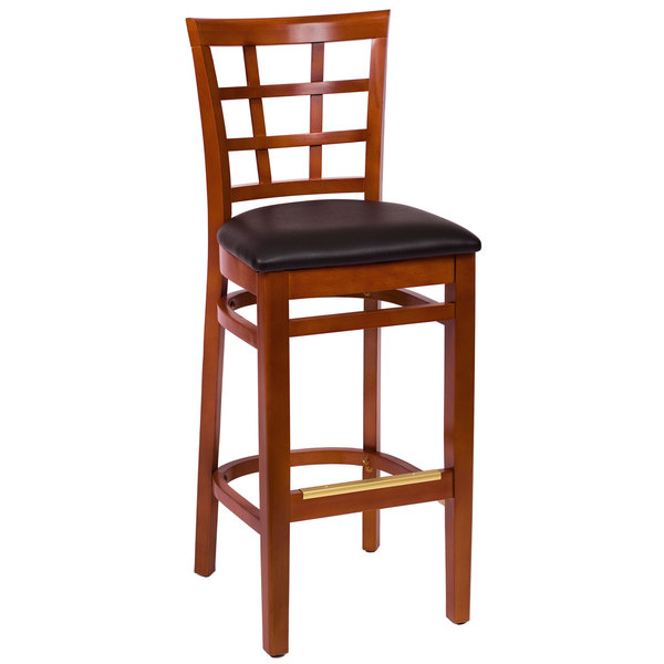 """BFM Seating LWB629CHBLV Pennington Cherry Beechwood Bar Height Chair with Window Wooden Back and 2"""" Black Vinyl Seat Main Image 1"""