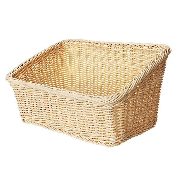 "GET WB-1510-N Designer Polyweave Plastic Cascading Basket - Natural 9 1/4"" x 13"" - 6/Pack"