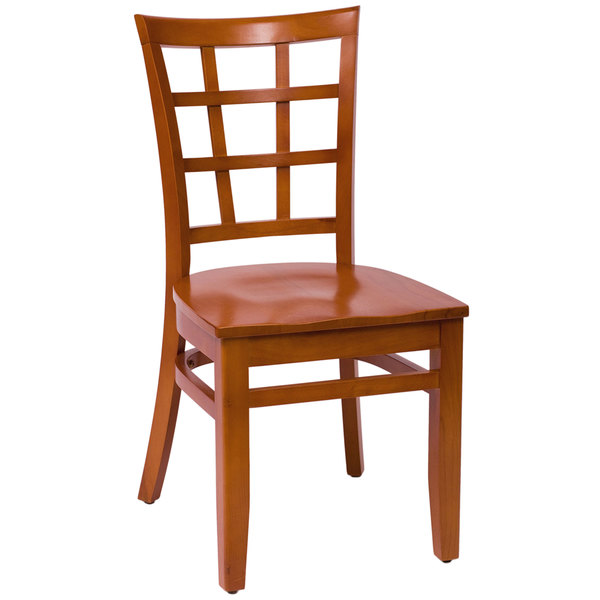 BFM Seating LWC629CHCHW Pennington Cherry Beechwood Side Chair with Window Wooden Back Main Image 1
