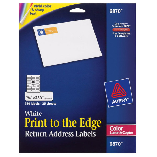 Avery 6870 34 X 2 14 White Print To The Edge Return Address Labels
