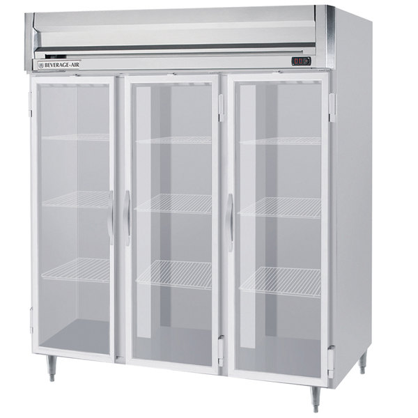 "Beverage-Air HRPS3-1G Horizon Series 78"" Glass Door All Stainless Steel Reach-In Refrigerator with LED Lighting"
