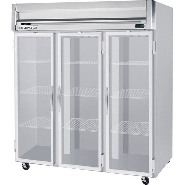 Beverage Air HRPS3-1G-LED 3 Section Glass Door Reach-In Refrigerator - 74 cu. ft., SS Exterior and Interior