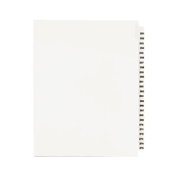 """Avery 1340 8 1/2"""" x 11"""" Standard Collated 251-275 Tab Legal Exhibit Dividers Main Image 1"""