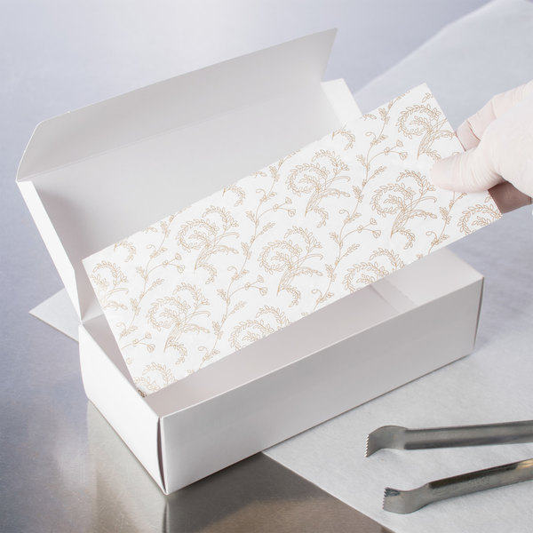 "8 3/4"" x 3 5/8"" 3-Ply Glassine 2 lb. White Candy Box Pad with Gold Floral Pattern - 250/Case Main Image 3"