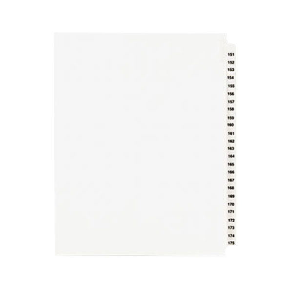 """Avery 1336 8 1/2"""" x 11"""" Standard Collated 151-175 Tab Legal Exhibit Dividers Main Image 1"""