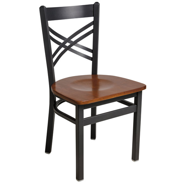 BFM Seating 2130CCHW-SB Akrin Sand Black Steel Side Chair with Cross Steel Back and Cherry Wooden Seat Main Image 1