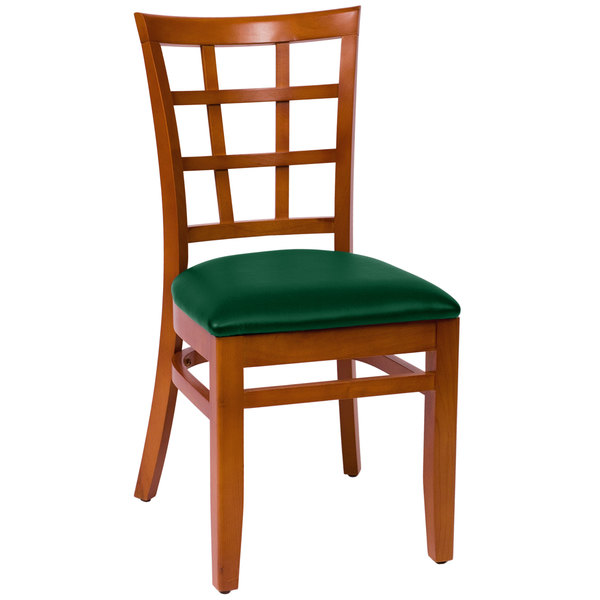 """BFM Seating LWC629CHGNV Pennington Cherry Beechwood Side Chair with Window Wooden Back and 2"""" Green Vinyl Seat"""