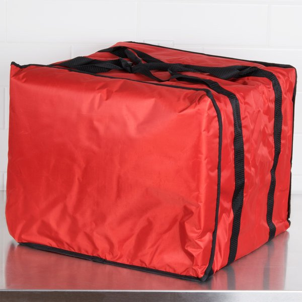 "American Metalcraft PB1914 19"" x 19"" x 14"" Deluxe Insulated Red Pizza Delivery Bag with Rack"