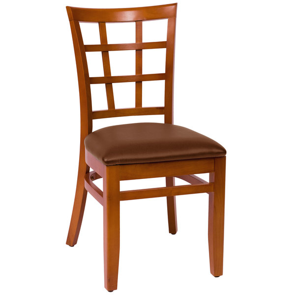 "BFM Seating LWC629CHLBV Pennington Cherry Beechwood Side Chair with Window Wooden Back and 2"" Brown Vinyl Seat Main Image 1"