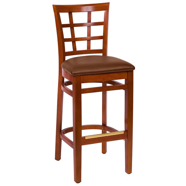 "BFM Seating LWB629CHLBV Pennington Cherry Beechwood Bar Height Chair with Window Wooden Back and 2"" Brown Vinyl Seat Main Image 1"