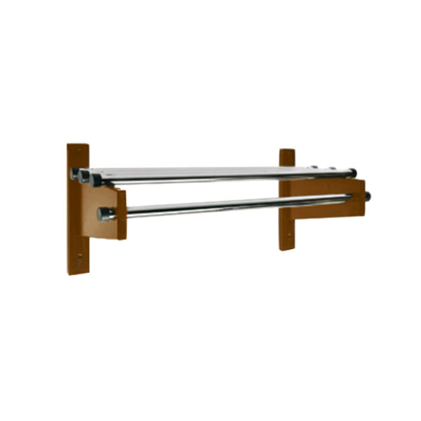 "CSL TDE-1824D 24"" Dark Oak Wall Mount Coat Rack with Chrome Top Bars and 1"" Hanging Rods"
