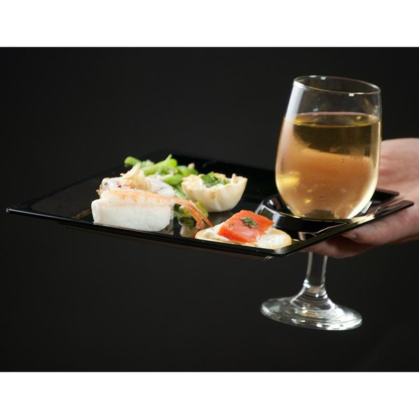 "WNA Comet MSCTLBK 8"" Black Square Milan Plastic Cocktail Plate with Cup Holder - 12/Pack Main Image 2"