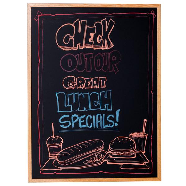 """Aarco BOC3648NT-B OAK 36"""" x 48"""" Oak Frame Black Marker Board"""