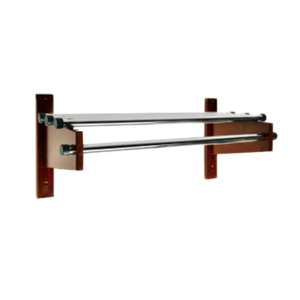 "CSL TDE-3748 42"" Mahogany Wall Mount Coat Rack with Chrome Top Bars and 1"" Hanging Rods"