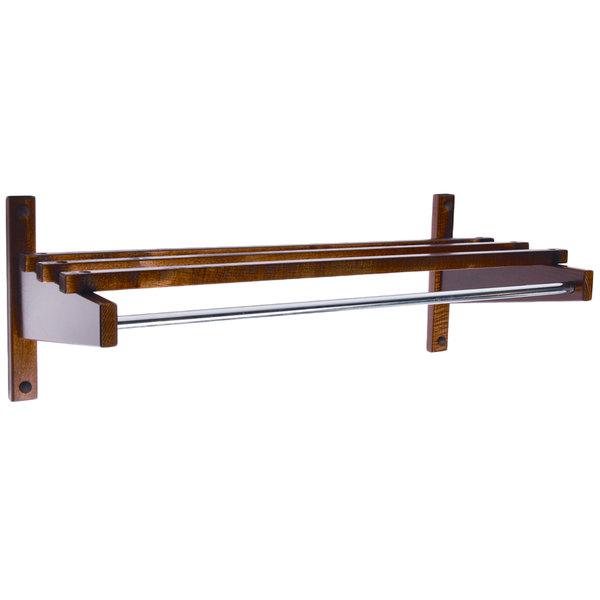 "CSL TEC-30W 30"" Walnut Hardwood Top Bars Wall Mount Coat Rack with 5/8"" Hanging Rod Main Image 1"