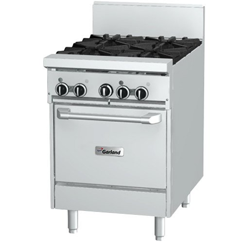 "Garland GFE24-4L Liquid Propane 4 Burner 24"" Range with Flame Failure Protection, Electric Spark Ignition, and Space Saver Oven - 120V, 136,000 BTU Main Image 1"