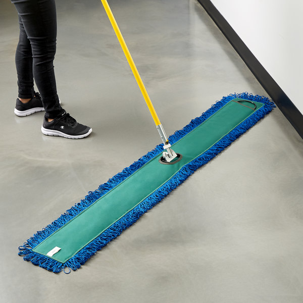 "Knuckle Buster MFDM60GN 60"" Green Microfiber Dry Pocket Dust Mop with Canvas Back Main Image 3"